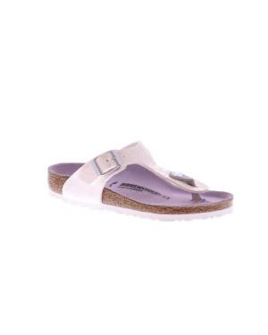 Birkenstock Kinderschoenen Gizeh wit metallic smal