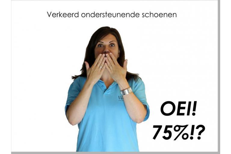 75% loopt op verkeerde schoenen