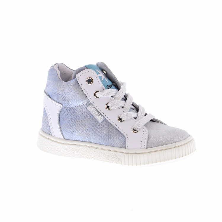 Neutrale witte half hoge meisjes sneakers | Develab